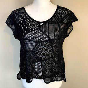 Show Me Your MuMu Black Crochet Lace Open Knit Top